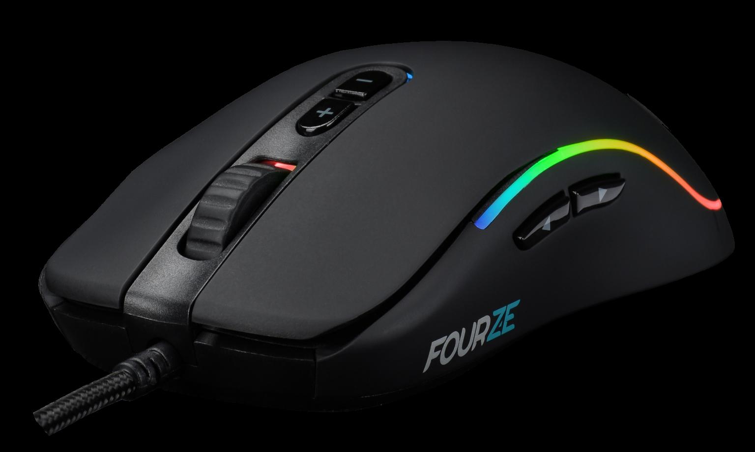 FOURZE GM700 sort gaming mus set forrest til venstre med RGB