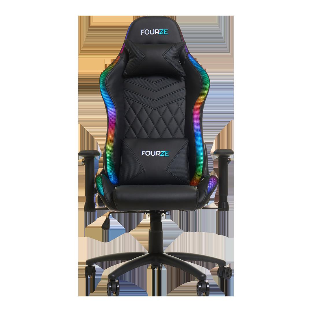 FOURZE Lightning RGB Gaming stol produktbillede set forfra med nakke og lænde pude.