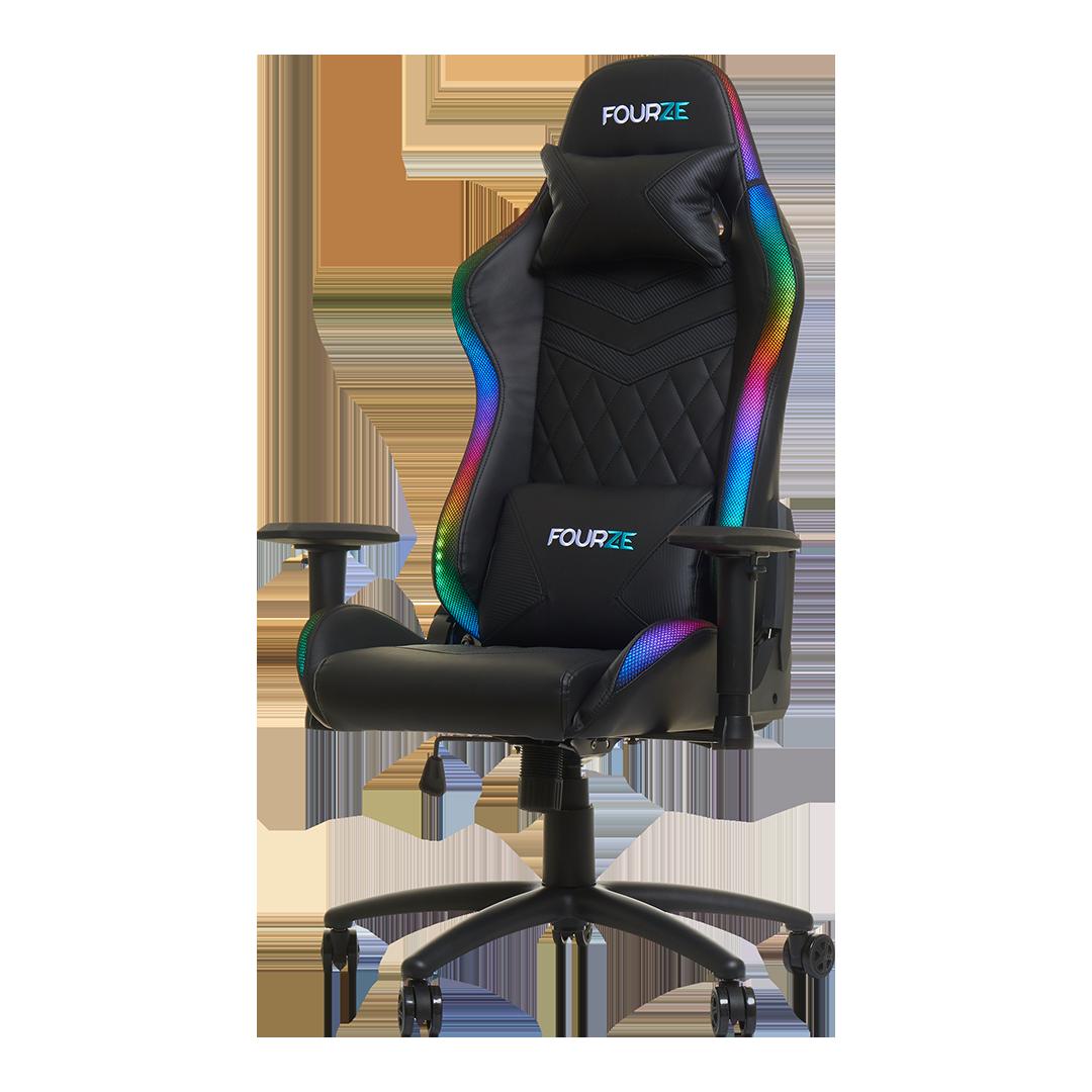 FOURZE Lightning RGB Gaming stol produktbillede set fra venstre. Vist med nakke og lænde pude.