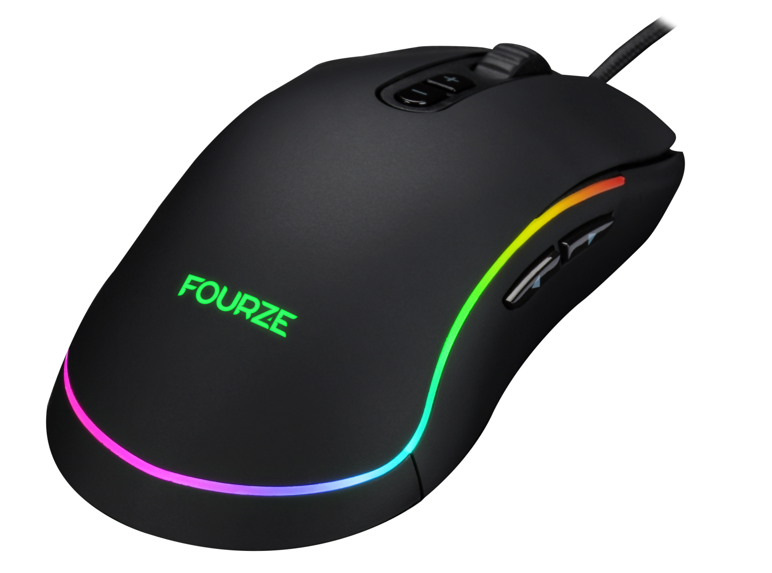 FOURZE GM700 sort gaming mus set fra højre top. Med RGB