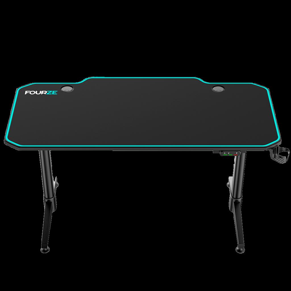 FOURZE D1400-E justerbart gaming skrivebord produktbillede Set forfra øverst.