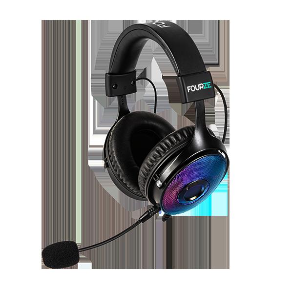 FOURZE GH350 RGB Gaming Headset produktbillede set fra højre side med mikrofon tilsluttet.