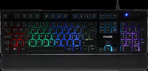 FOURZE GK100 X-switch semi-mekanisk gaming tastatur set forfra med RGB