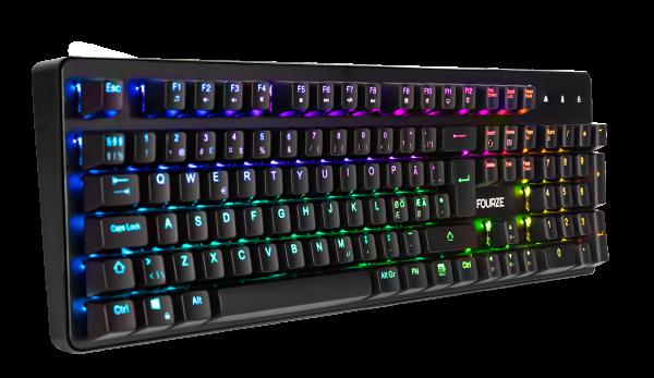 FOURZE GK130 Red Switch mekanisk gaming tastatur set forfra til venstre.