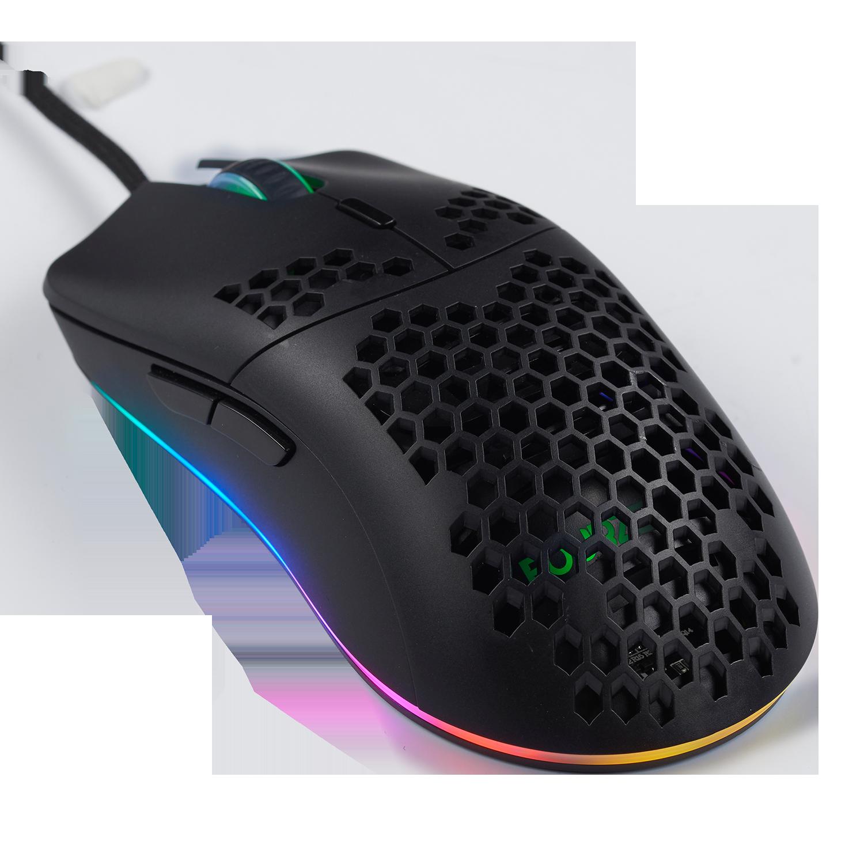 FOURZE GM800 gaming mus vist fra top venstre side. Med RGB