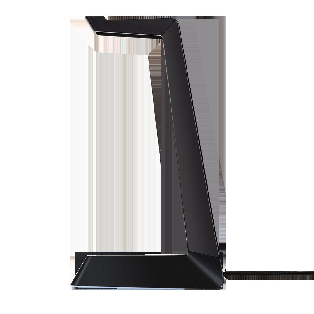 FOURZE Ember -headsetstativ med trådløs opladning set i profilen.
