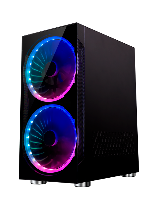 FOURZE T320 RGB gaming kabinet, set fra højre side.